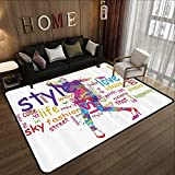 All Weather mats,Fashion House Decor,Stylish Woman Figure with Colorful Stains Love Dresses Happiness Theme,Purple Pink 55''x 63'' Soft Area Children Baby Playmats
