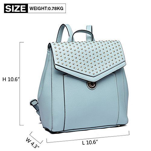 Girls Backpack Fashion for Lulu Pu Zipper Blue Miss Soft Design Daypack Rivet Brand Casual Leather Backpack School xqHCwECZv