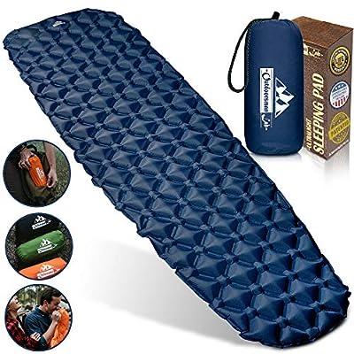 Outdoorsman Lab Camping Sleeping Pad, Ultralight Inflatable Camping Pad, Compact Hiking & Backpacking Gear Includes Camping Mat, Bag & Repair Kit