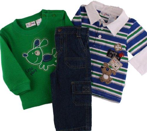 B T Kids Baby Boys Fall/Winter 3 Pc Puppy Polo Denim Jean Set