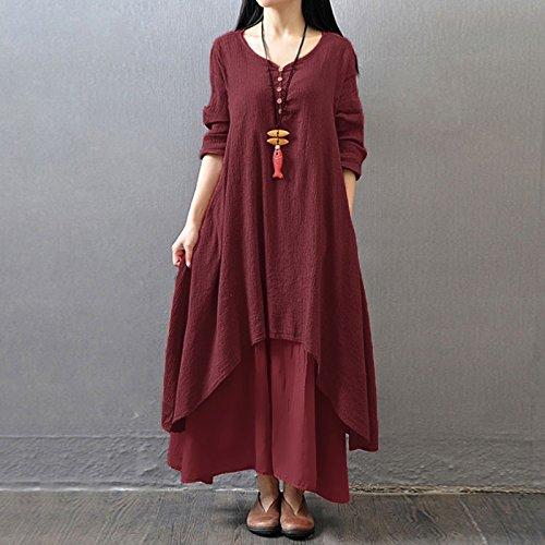 Lin Tunique Casual Robe Robe Bourgogne Col Boho V Vrac Romacci en A Lace Femme Maxi Robe Manches Longues Rfwaqz1vx