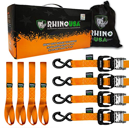 "RHINO USA Ratchet Straps Heavy Duty Tie Down Set, 5,208 Break Strength - (4) Heavy Duty 1.6"" x 8"