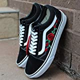 1e54fba1f0f Vans Red Old Skool Embroidered Red Rose Custom Handmade Shoes By Patch  Collection