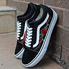81ab284a02 Vans Red Old Skool Embroidered Red Rose Custom Handmade Shoes By Patch  Collection.