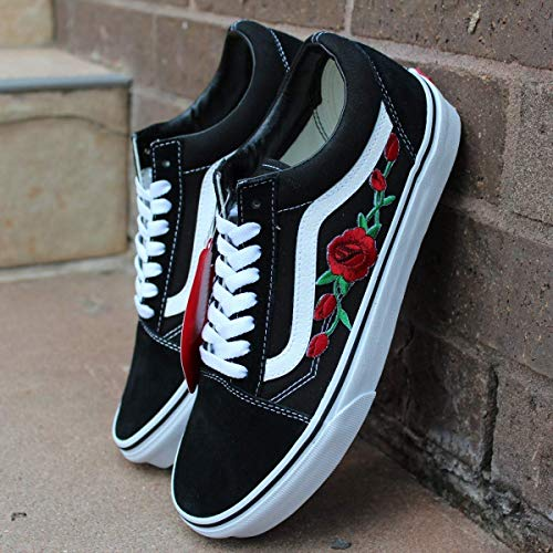 - Vans Red Old Skool Embroidered Red Rose Custom Handmade Shoes By Patch Collection