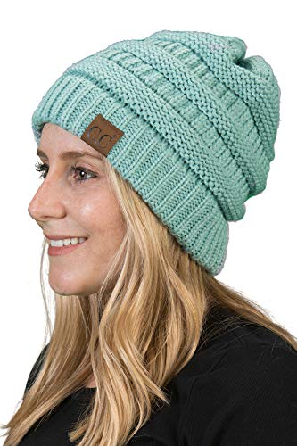 H-6020a-54 Solid Ribbed Beanie - Mint, One Size Fits Most by Funky Junque
