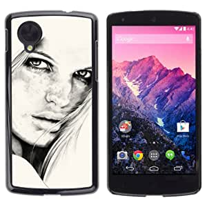 iKiki-Tech Estuche rígido para LG Google Nexus 5 - Beautiful Girl B&W