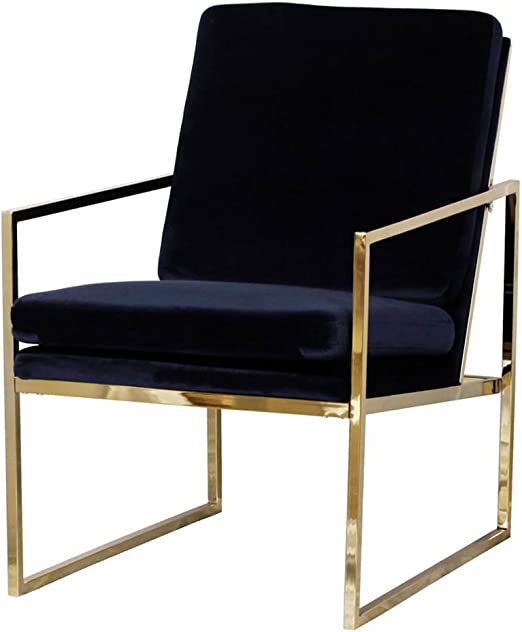 Mr.do Velvet Armchair Dark Blue Single Lounge Chair Upholstered Arm Chair Modern Furniture Home Decor for Living Room Bedroom Cafe, Brass Plated Gold