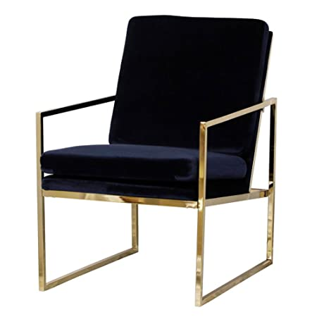 Dark Blue Armchair Velvet Lounge Chair, Brass Plated Gold Finish  Steel/Metal Frame,