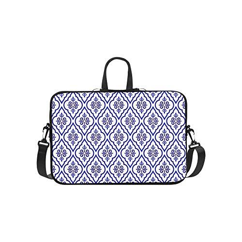 Ancient Chinese Blue and White Porcelain Pattern Briefcase Laptop Bag Messenger Shoulder Work Bag Crossbody Handbag for Business Travelling
