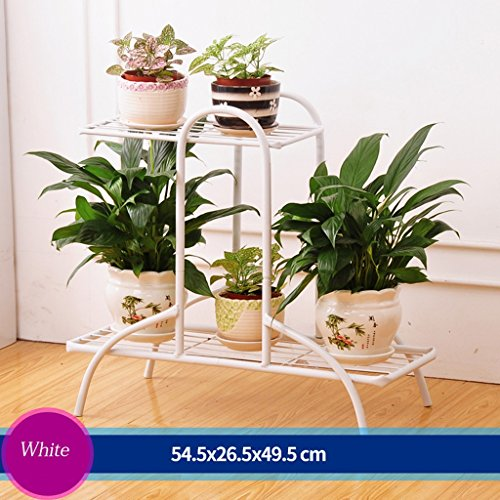 Iron Flower Staircase Flower Pot Rack Outdoor Living Room Balcony Flower Rack 3 Layer (54.526.549.5cm) ( Color : White ) by LITINGMEI Flower rack