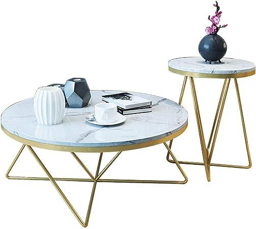 NATUO-Mesas de Muebles Mesa de Centro Nido de mármol nórdico Redondo - Mesa de cóctel Creativa