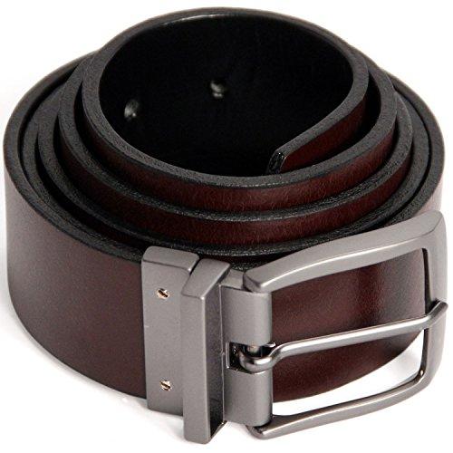 Logical Leather Reversible Men's Belt - Genuine Full Grain Leather Belt for Men - Brown/Black - 34