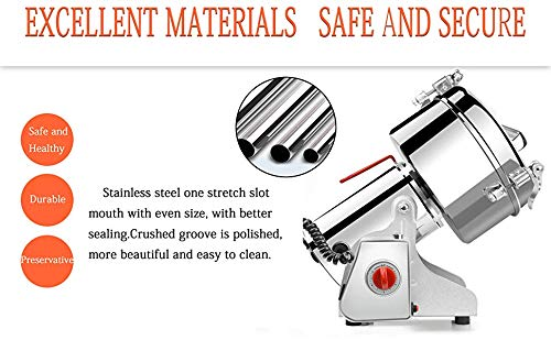 2500g Commercial Electric Grain Grinder Mill Spice Grinder Grain Powder Grinder Grinding Machine Chinese medicine Spice Herb Grinder Flour Mill Pulverizer Food Grade Stainless Steel CE approved by CGOLDENWALL (Image #2)