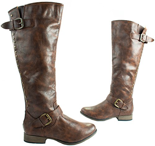 Legend Brown Leather Faux Length Womens Studs at Zipper Boots Knee Forever High 24 With UBTSwffq