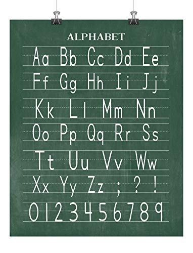 Vintage Alphabet and Numerical Print Classroom Poster Chalkboard Print - Back to School Teacher Appreciation Gift