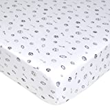 American Baby Company Printed 100% Cotton Jersey Knit Fitted Crib Sheet, Navy/Grey Sports Reviews
