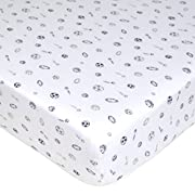American Baby Company Printed 100% Cotton Jersey Knit Fitted Crib Sheet for Standard Crib and Toddler Mattresses, Navy/Grey Sports