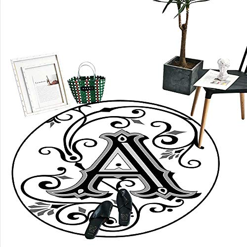 Letter A Home Decor Area Rug Ornamental Pattern Uppercase A First Letter of The Alphabet Abstract Design Perfect for Any Room, Floor Carpet (4' Diameter) Black Grey White