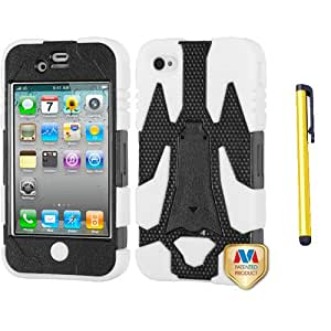 Fits Apple iPhone 4 4S Hard Plastic Snap on Cover Natural Black/Solid White Cyborg Hybrid AT&T, Verizon (does NOT fit Apple iPhone or iPhone 3G/3GS or iPhone 5)