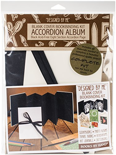 Books By Hand Designed By Me Blank Cover Bookbinding Kit-Accordion Album, Black 5.25