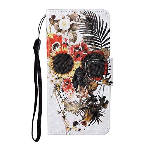 TYWZ Lederen Wallet Case voor iPhone XR, Flip Cover met Patroon Kichstand Kaarthouder Slot Bookstyle Beschermende Bumper…