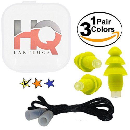 Soft Silicone Ear Plugs with Filter- Noise Cancelling & Hearing Protection By HQ Earplugs - NRR 25 to 29db – Water Block Ends – One Size Fits All (Yellow)