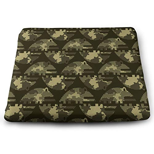 Pamdart Camouflage Seamless Illustration Customized Square Seat Cushion Memory Cotton Zipper Detachable for Dining Table Patio Chair