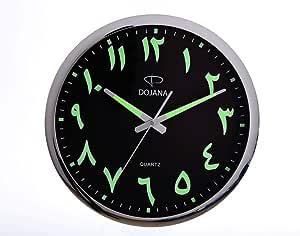 ساعة حائط خشبية من دوجانا، بني وابيض،DWG146-wooden-white (arabic)