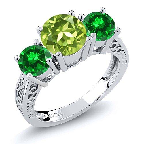 3.03 Ct Round Green Peridot Simulated Emerald 925 Sterling Silver 3-Stone (Round Peridot 3 Stone Ring)