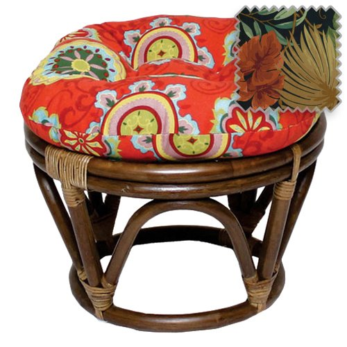 18-Inch Bali Rattan Papasan Footstool with Cushion - Print Outdoor Fabric, Tropique Raven ()