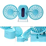 Couple Mini Fan Handheld Portable Dual Head USB Rechargeable Foldable Fan,180°Rotation,3 Adjustable Speed(Black) (Blue)