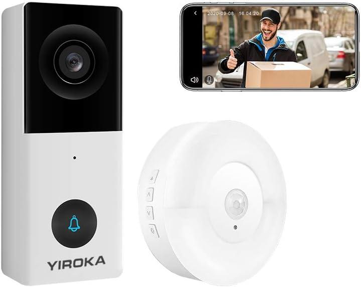 Yiroka Video Timbre con Cámara Cableada Exterior, Smart Life/TuyaSmart APP, HD 1080P, Almacenamiento en la Nube, Tarjeta SD Máxima de 128GB, 2.4G WiFi, con USB Receptor, Blanco