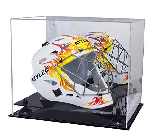 (Deluxe Acrylic Lacrosse Helmet Display Case with Black Risers and Mirror)