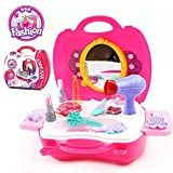 SainSmart Jr. Beauty Vanity Cases Make Up Case, Little Girls Pretend Play Set Cosmetic Set Beauty Salon with Hairdryer, Curling Iron, Mirror, Hair Styling and a Beauty Tote Bag (14 Pcs)