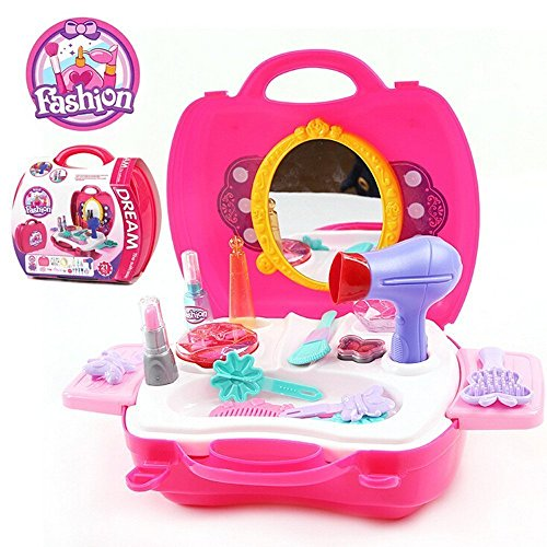 SainSmart Jr. Beauty Vanity Cases Make Up Case, Little Girls Pretend Play Set Cosmetic Set Beauty Salon with Hairdryer, Curling Iron, Mirror, Hair Styling and a Beauty Tote Bag (14 Pcs) (Little Girl Drum Set)
