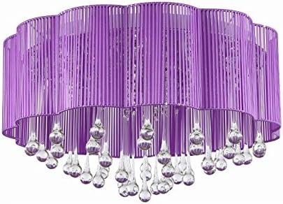 JUZHIJIA Salon Cristal Lampe De Plafond Chambre Mauve Brossé ...