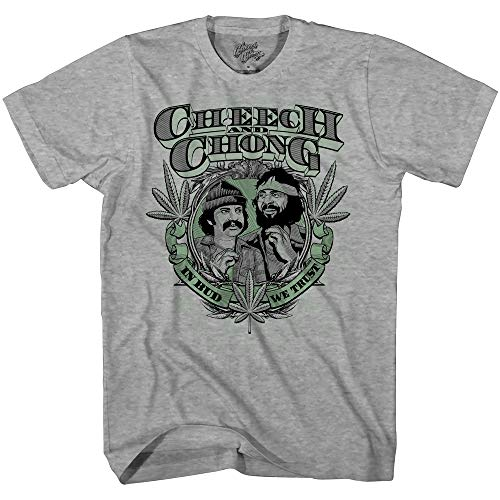 Mad Engine Men's Cheech and Chong in Bud We Trust Marijuana Pot Leaf T-Shirt, Heather, Small