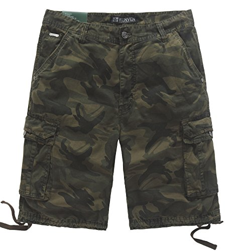 WenVen Men's Multi Pocket Camo Cargo Short (Army Green Camo, 36) - Camo Military Shorts