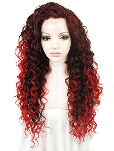 [Ebingoo Fashion Black Women's Lace Front Wig Long Red Curly Wavy Heat Resistant Synthetic Full Hair Party Wigs N18] (Long Red Wigs)