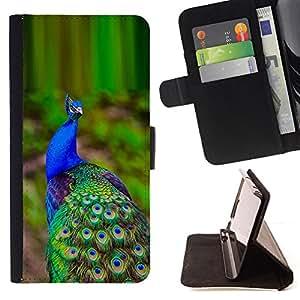 - peacock green vibrant purple blue bird - - Prima caja de la PU billetera de cuero con ranuras para tarjetas, efectivo desmontable correa para l Funny HouseFOR Samsung Galaxy S6 EDGE
