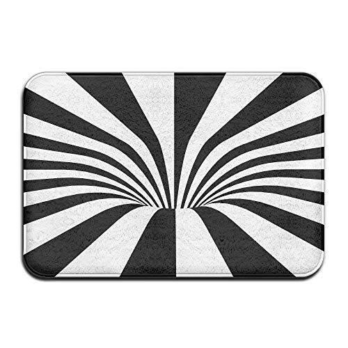 Black White Spiral Home Door Mat Super Absorbent Non Slip Front Floor Mat,Soft Coral Memory Foam Carpet Bathroom Rubber Entrance Rugs for Indoor Outdoor