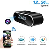 YAOAWE FHD 1080P Hidden Camera Wifi Alarm Clock Camera- IR CUT Night Vision LED Light - Motion Detection Alarm Push - Loop Video Recording - Home Surveillance Nanny Cam- Gift