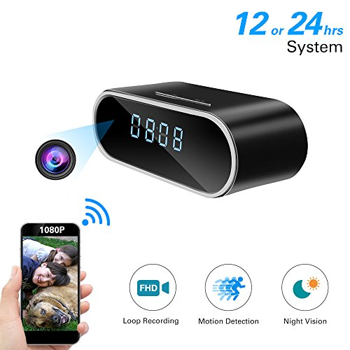Espía HD 1080P WiFi Cámara Oculta Reloj Despertador Noche Vision-Motion Detection-Loop Recording-Home de vídeo niñera CAM...