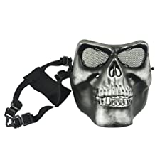 Airsoft Skeleton Ghost Skull Full Face Protector Mask / Paintball, Game or Scenario Mask--Foam Padded inside for Comfortable Wearing, Metal Mesh Goggle Will Never Fog up in the Game