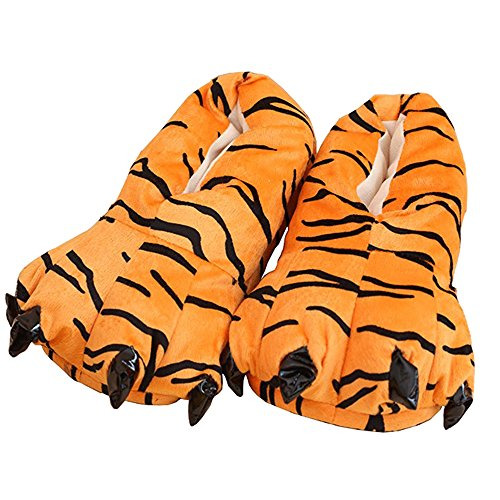 9fb3049b7892d QIYUSHOW Unisex Plush Paw Claw House Slippers Onesie Animal Costume Shoes  for Toddlers, Kids & Adults (M (Mom Size, Suggests for Euro 34-38), Tiger)