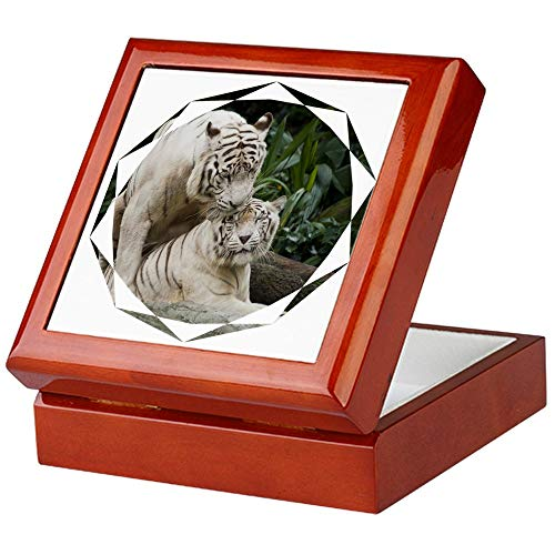 (CafePress Kiss Love Peace and Joy White Tigers Keepsake Box, Finished Hardwood Jewelry Box, Velvet Lined Memento Box)