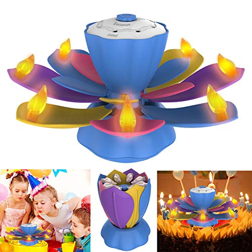 Flameless LED Birthday Candles, Musical Lotus Rotating LED Birthday Flameless Candles, 3 Modes Flickering Birthday Candle Light for Birthday, Party, Christmas Gifts, Festival Gifts(Four Colors) by EocuSun