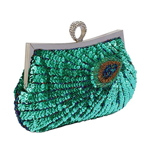 Crystal Ring Clasp Design Clutch Top Evening Peacock With Feather A Green Sequin Bag qnvzaxB