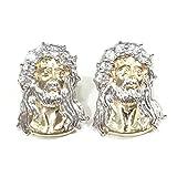 NEW 10K YELLOW GOLD 16 MM LONG FANCY LORD JESUS HEAD FACE STUD EARRINGS